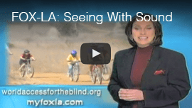 FOXNEWS L.A.: 'Seeing with Sound'. Anchor Christina Gonzalez stands in front of a video screen of Daniel Kish and other World Access For The Blind Perceptual Navigation Instructors and students cycling along a canyon trail.