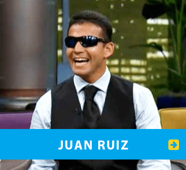 Juan Ruiz. Box link banner shows World Access For The Blind Perceptual Navigation Instructor Juan Ruiz appearing on Don Franscisco Presenta.