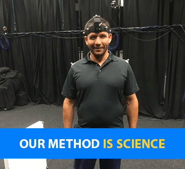 Our method is science. Photo: Juan Ruiz is fitted with sonic sensors during research at Durham University.