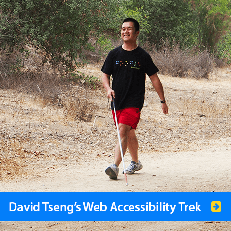 David Tseng's web accessibility trek. Photo shows David Tseng in red shorts and a black Google T-Shirt walking in the Alcon Walk-Run-Ride event for World Access For The Blind. Click to watch a video of him speaking on Web Accessibility at the Google i/o conference in 2013.