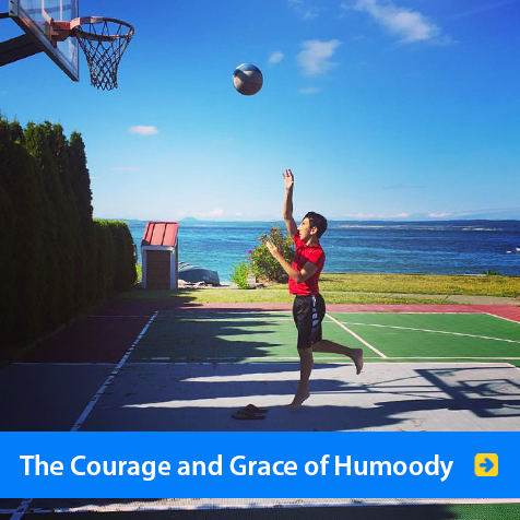 The Courage and Grace of Humoody Smith. Image shows Humoody jumping and throwing a basketball at a basket with the ocean in the background.