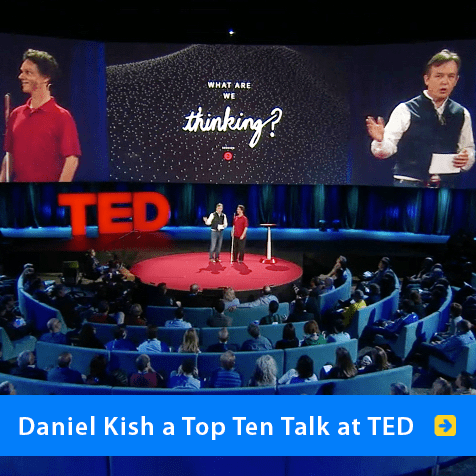 Daniel Kish a Top Ten Talk at TED. Image shows Daniel onstage with TED Curator Chris Anderson.