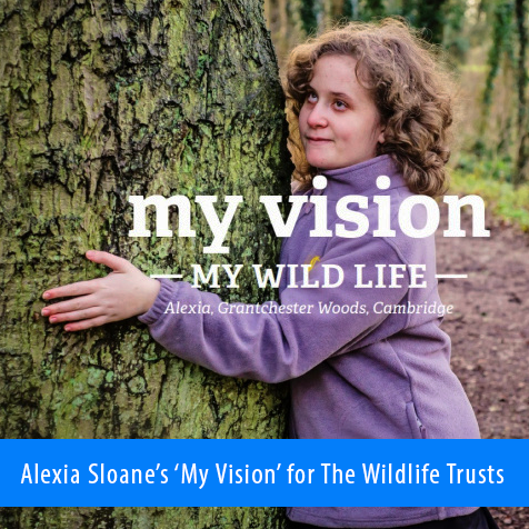 Alexia Sloane's 'My Vision' for the Wildlife Trusts. Image: Alexia, dressed in a purple jumper, wraps her arms around a tree in the woods.