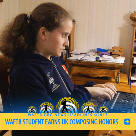 WAFTB Student Earns UK Composing Honors. Image: Alexia Sloane works at her Braille reader.