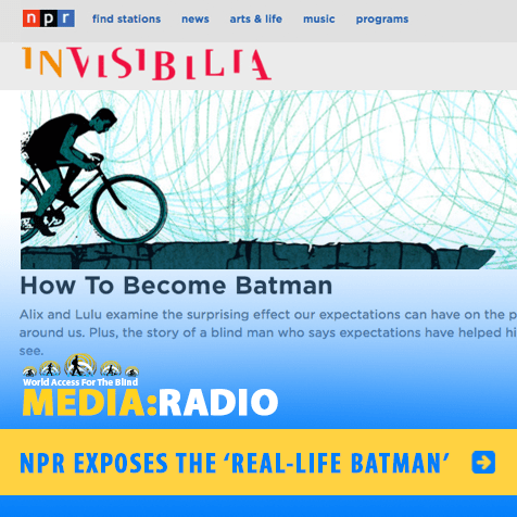 MEDIA:Radio: NPR exposes the real-life Batman. Image: Scnreengrab of NPR website with a illustration of a cyclist and the title: 'How to Become Batman.'