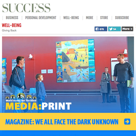 Media: Print: Success Magazine: We All Face The Dark Unknown. Image: Daniel Kish trains with a young male student in Iceland.