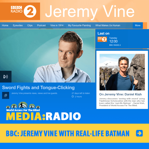 BBC Radio 2. Jeremy Vine With Real-Life-Batman. Image. Photos and artwork show Jeremy & Daniel and related program information.