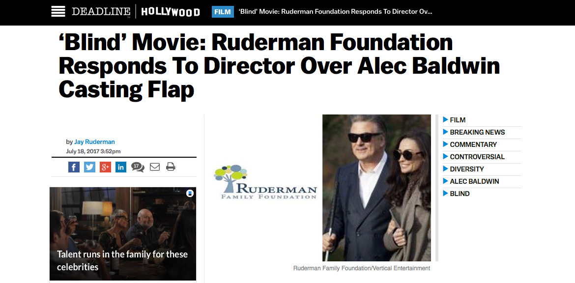 Screengrab from Deadline.com. Headline reads: 'Blind' Movie: Ruderman Foundation responds to Director over Alec Baldwin casting flap. Images show the Foundation lofo and a photo of Alec Baldwin and co-star Demi Moore outdoors on the set of 'Blind'.