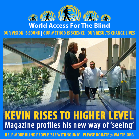 WAFTB Facebook Module frames a photo of WAFTB Perceptual Navigation Instructor Brian Bushway riding an up escalator with student Kevin Lowe. Caption: Kevin rises to a higher level. Magazine profiles his new way of 'seeing'.