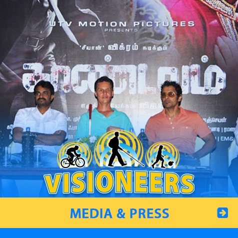 Category link: Media and Press. Photo of Lead Visioneer Daniel Kish participating at the Press Conference for a motion picture in India for which he consulted and appeared in.
