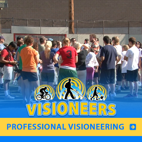 Category link: Professional Visioneering. Visioneer Brian Bushway is pictured instructing at a recreational sports clinic on accessibility.