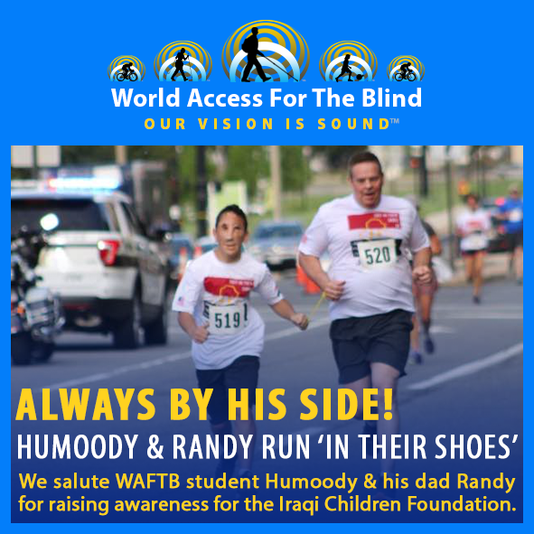 "Social Media module frames a photo of Humoody Smith leading his Dad Randy by a Tether in a fundraising run. Caption: Always by his side! Humoody and Randy run ""in their shoes"". We salute WAFTB student Humoody and his Dad Randy for raising awareness for the Iraqi Children Foundation."