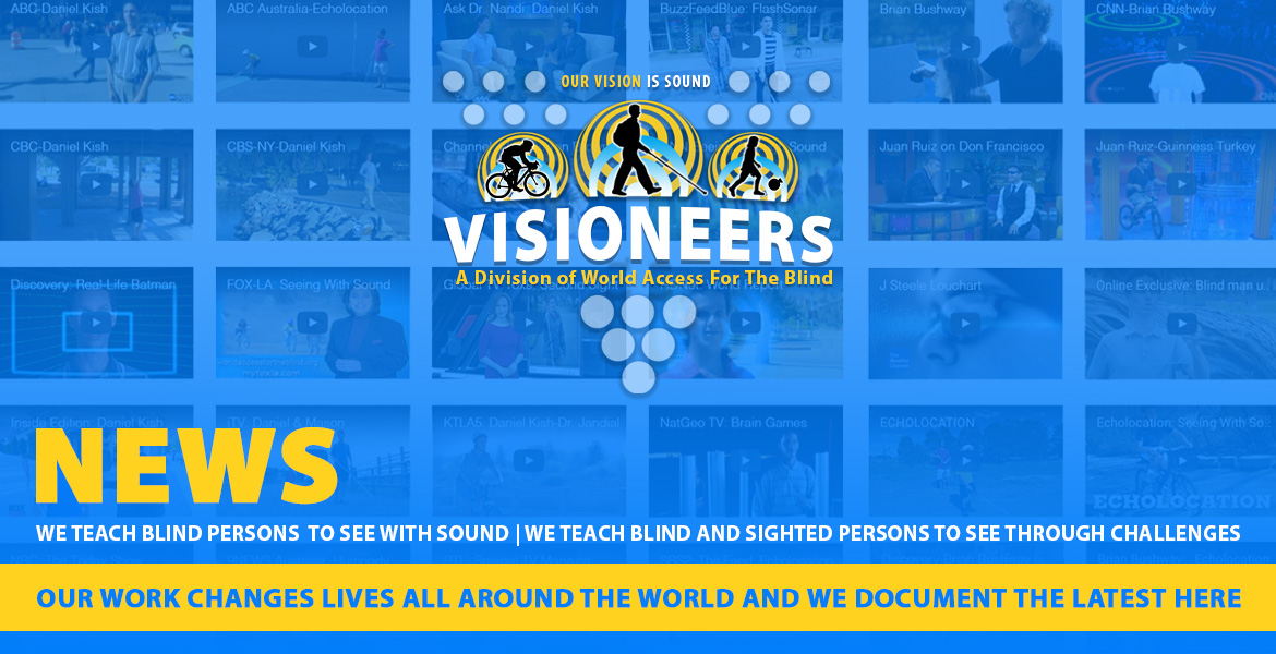 Visioneers News. Our work changes lives all around the world and we document the latest here. Image: Video wall featuring images from video reports done on the work of Visioneers/World Access For THe Blind.