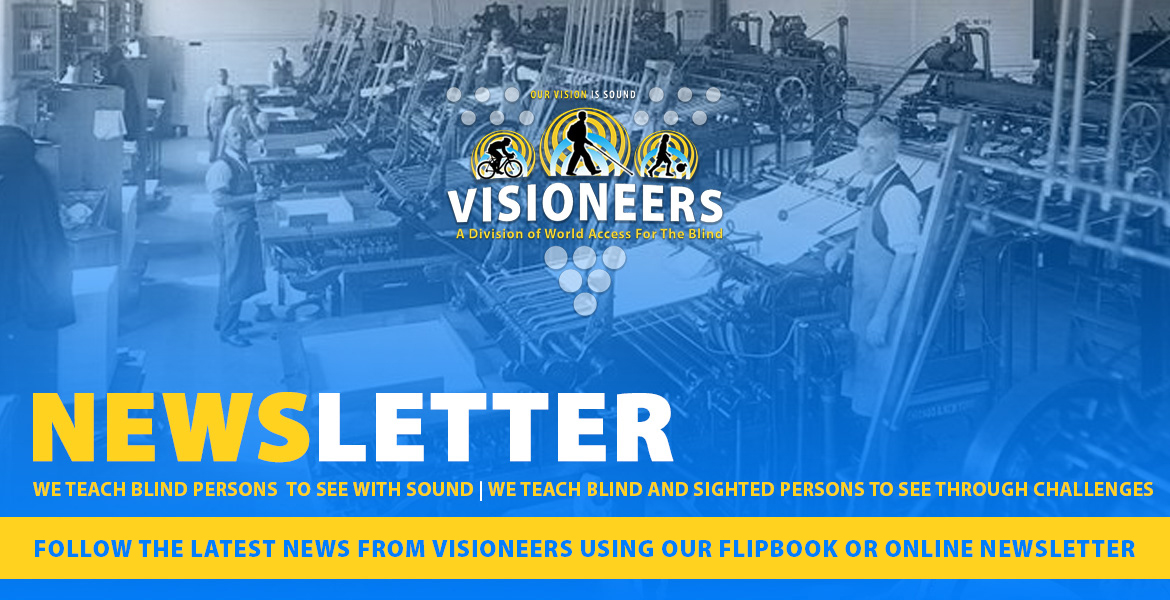 Visioneers Newsletter. Follow the latest news from Visioneers using our flipbook or online newsletter. Image: Vintage photo of a newspaper printing shop.