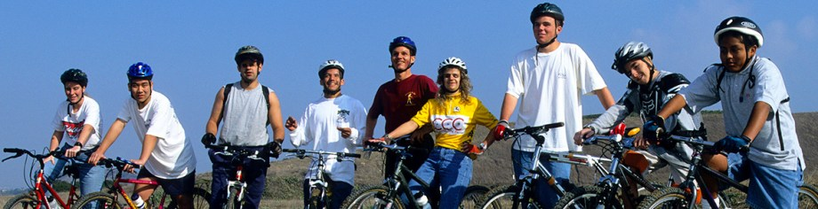 Image: Photo by John Ker from Mountain Bike Action Magazine of Daniel Kish, Brian Bushway and Juan Ruiz as members of Team BAT along with other blind students and their mountain bikes in 2001.