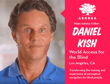 Ashoka. Meet Ashoka Fellow Daniel Kish. World Access For The Blind, Los Angeles, California. Transforming the training and experience of perceptual navigation for blind people. Image shows a photograph of Daniel Kish and the Ashoka tree logo.