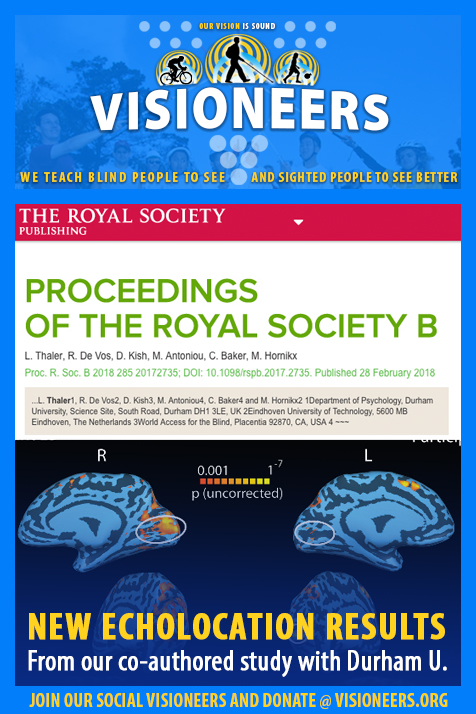 Visioneers Facebook Module: New Echolocation Results from our co-authoired study with Durham University. Image: Screen photo of the Royal Society Publishing web page with the headline Proceedings of the Royal Society B,and summaries of the authors of the study above a graphics layout of MRI scans of the brain showing the Visual Cortex lighting up in response to the echo of a tongue click.
