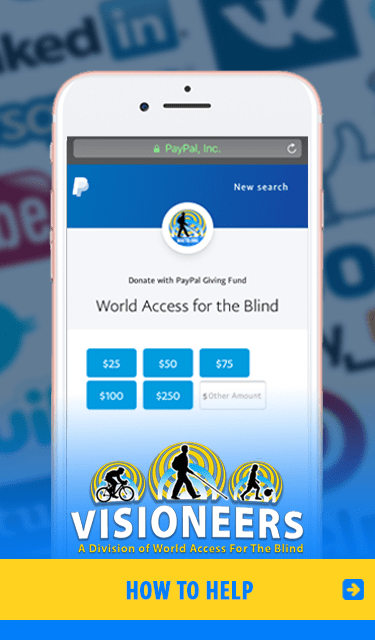 HOW TO HELP. Image: iPhone set against a backdrop of social media names shows the donation page for WAFTB - Visioneers at PayPal Giving Fund. We receive 100 percent of your donation,