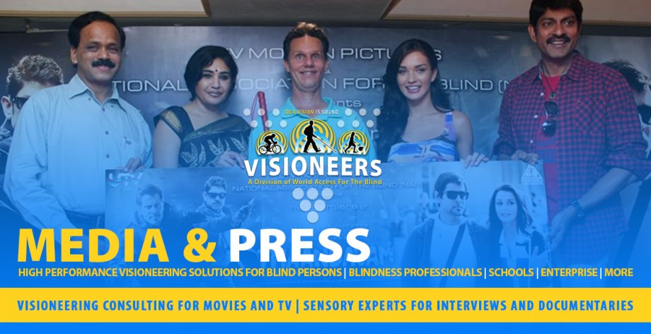 Visioneers Services: Media and Press: Visioneering consulting for Movies and TV | Sensory Experts for Interviews and Documentaries. Image: Photo of Lead Visioneer Daniel Kish at a press conference for the Tamil movie Thandavam in which he appeared and consulted for.