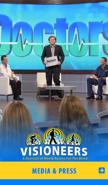 Media and Press Visioneering. Image: Senior Visioneer Brian Bushway demonstrates FlashSonar echolocation on an episode of The Doctors.