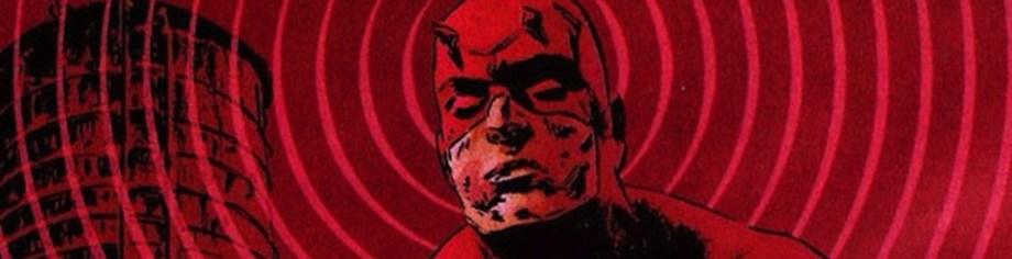 Panel from a Marvel Comic shows the masked face of the super-hero Daredevil surrounded by radar or sonar rings.