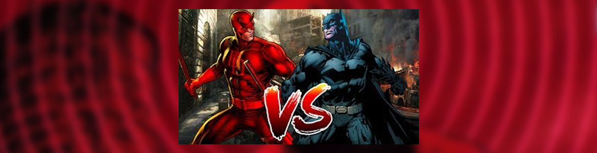 Illustration: Comic book superheroes Daredevil and Batman stand side by side against a background of red sonar rings with the letters VS in the foreground.