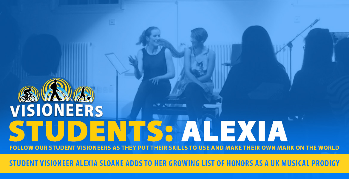 Banner: Visioneers Students: Student Visioneer Alexia Sloane adds to her growing list of honors as a UK Musical Prodigy. Image: Photo of Alexia speaking to musicians and audience members about her music.