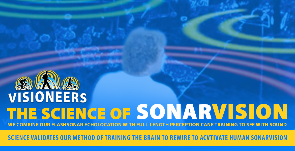 Page Banner: Visioneers: The Science of SonarVision. We combine our FlashSonar Echolocation with Full-Length Perception Cane training To See With Sound. Science validates our method of training the brain to rewire to activate human SonarVision. Image: Video frame from CNN animation shows multicolor rings emanating from, and returning to Senior Visioneer Brian Bushway from the environment in his front yard to simulate the process of SonarVision.