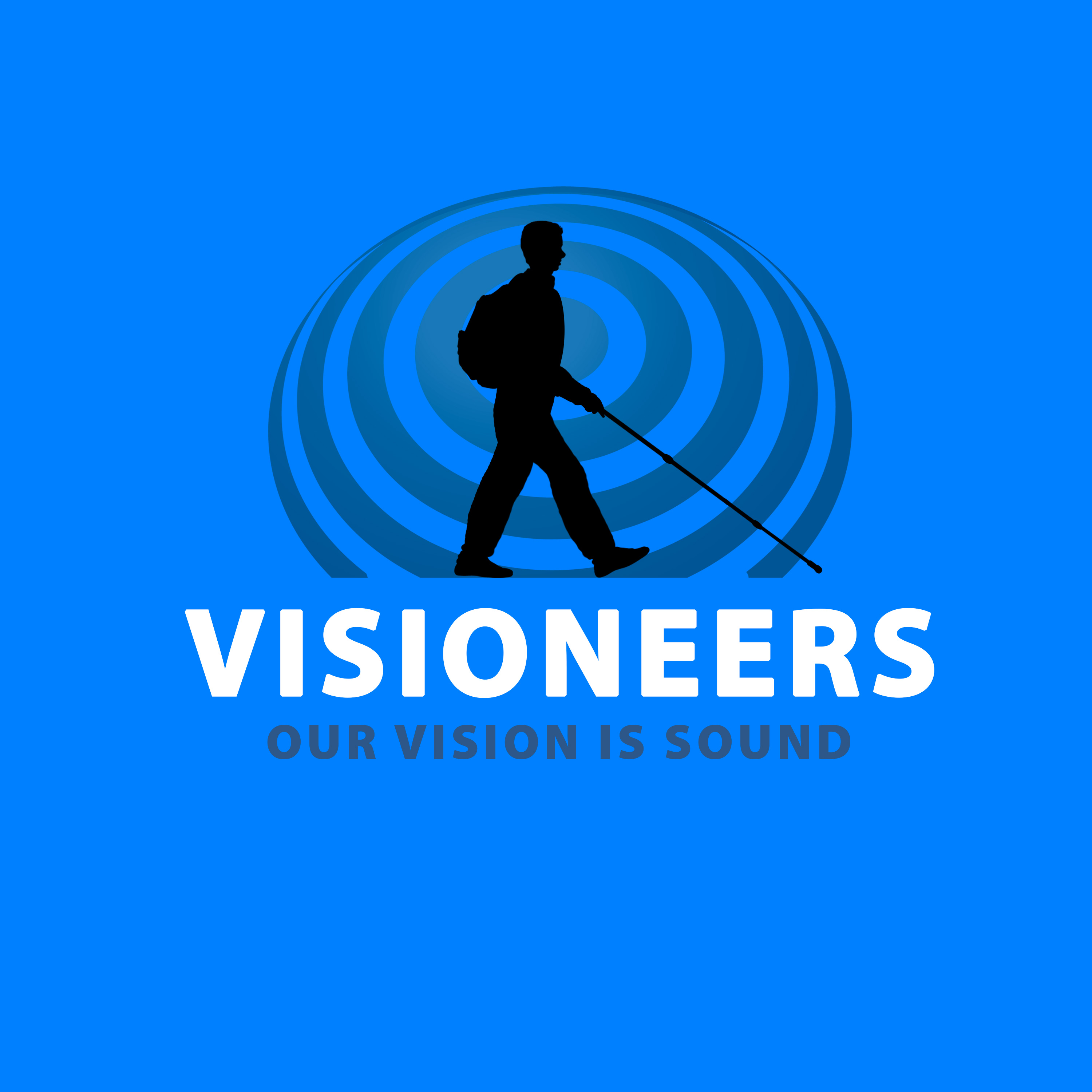 A1 version shows single Daniel black silhouette against a transparent medium grey sonar wave with Visioneers in white bold letters and Our Vision Is Sound in matching grey against a blue background.