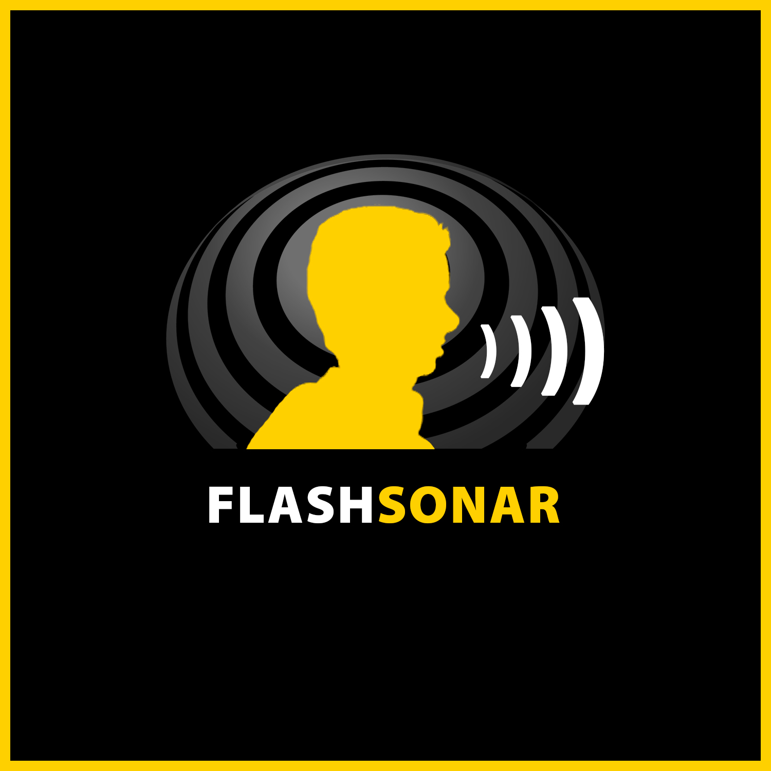 FlashSonar icon consisting of a yellow side silhouette of the head of Daniel Kish sending out small sonar waves by clicking his tongue set against a gradient grey set of reflecting sonar waves emanating from a circular center.