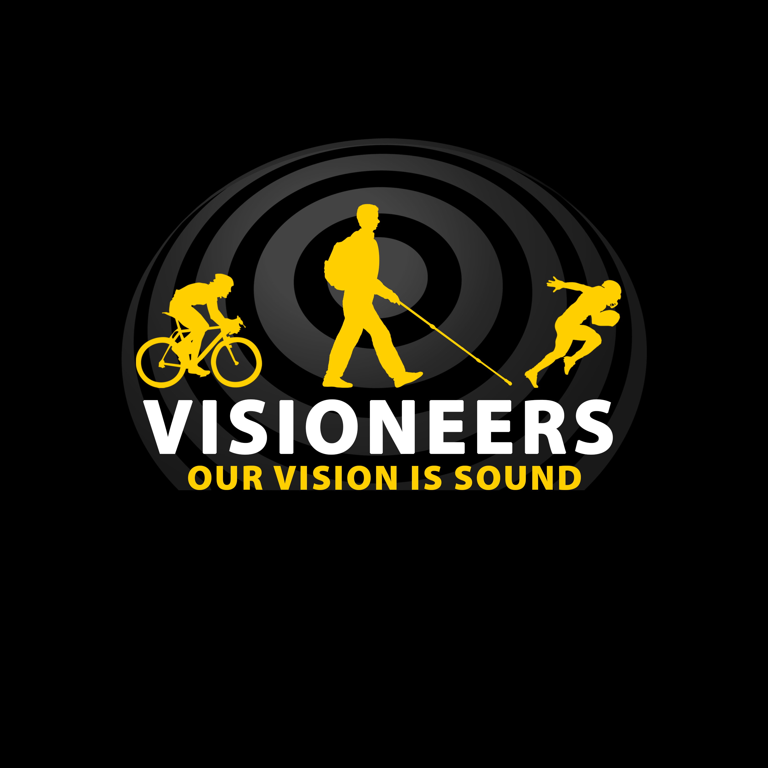 1. 3 Yellow Icons, Visioneers in white, Black BG Rings at 60 percent.