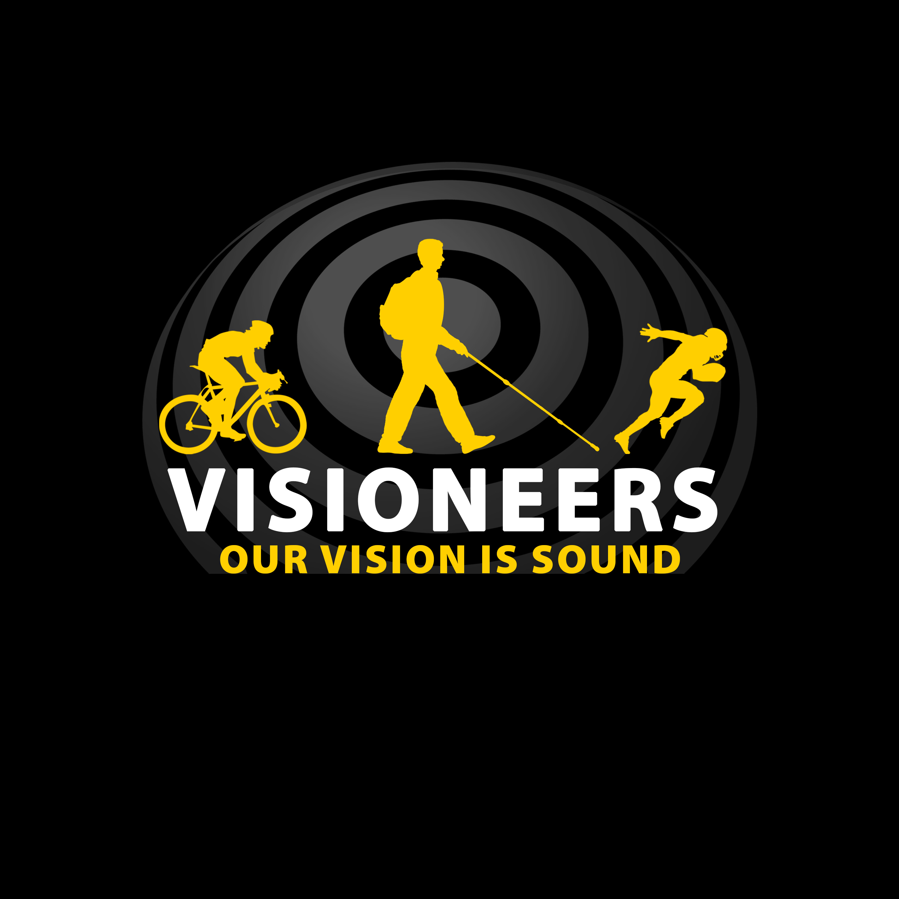1. 3 Yellow Icons, Visioneers in white, Black BG Rings at 70 percent.
