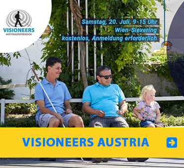 Visioneers Austria: Photo of Daniel Kish, Juan Ruiz and a young female student sit on a concrete garden wall.