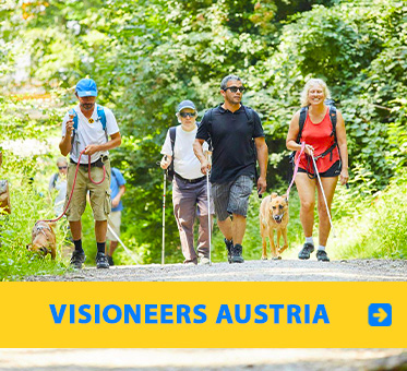 Visioneers Austria. Photo of Senior Instructor Visioneer Juan Ruiz leading blind participants on a walking trail with plenty of green trees around.