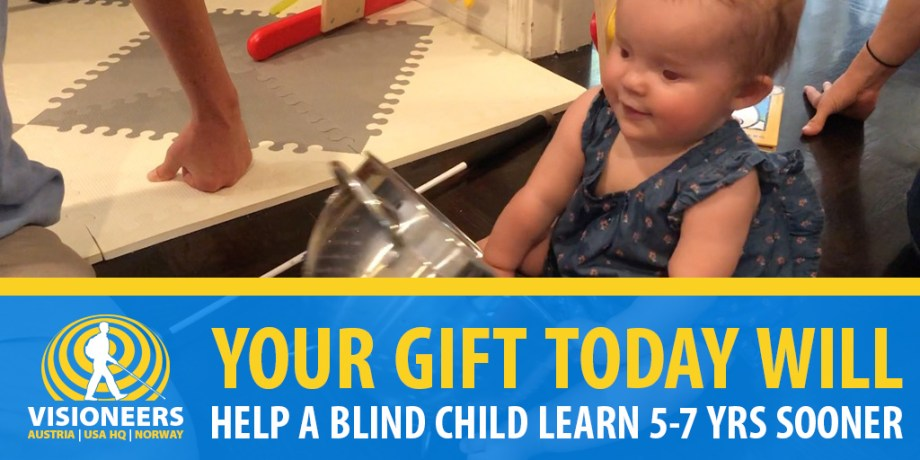 Visioneers banner: Your gift today will help a blind child learn 5 - 7 years sooner. Image: 1 year-old toddler learns sonic awareness with a metal straining bow as her white Perception lies beside her.