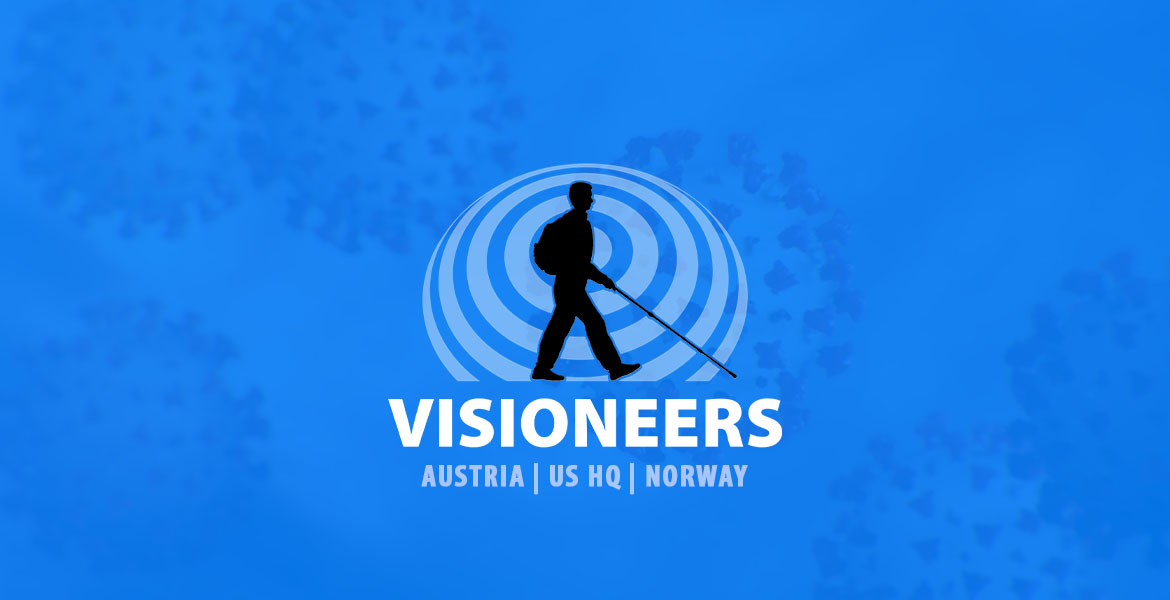 Visioneers logo of Daniel Kish silhouette surrounded by sonar waves set against a transparent blue layer overlaid on an illustration of coronaviruses.
