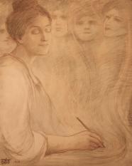 Kahlil Gibran: Portrait of Josephine Preston Peabody, colored pencil on paper, 1904