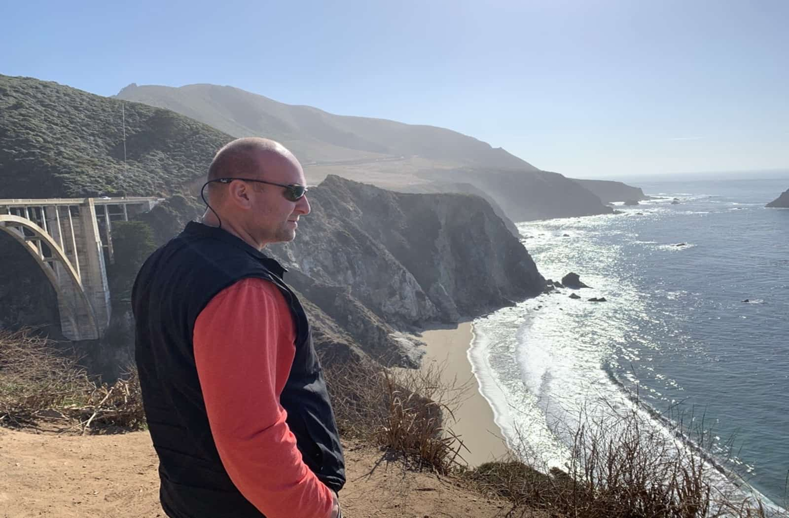 Hotel photographer looking at Big Sur