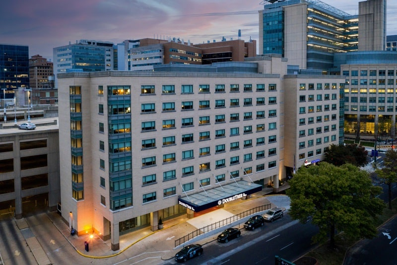 Hilton approved hotel photography for doubletree stl forest park Aerial 10