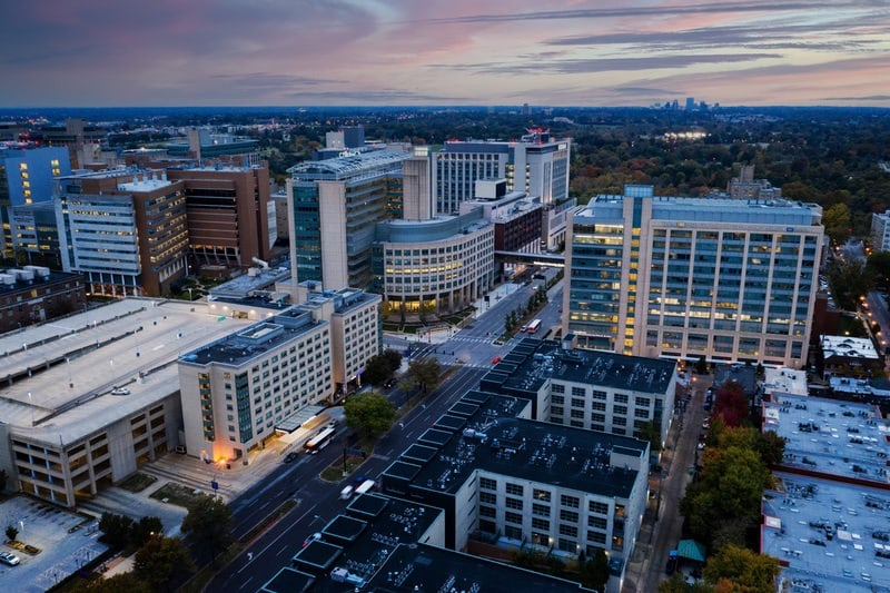 Hilton approved hotel photography for doubletree stl forest park Aerial 11