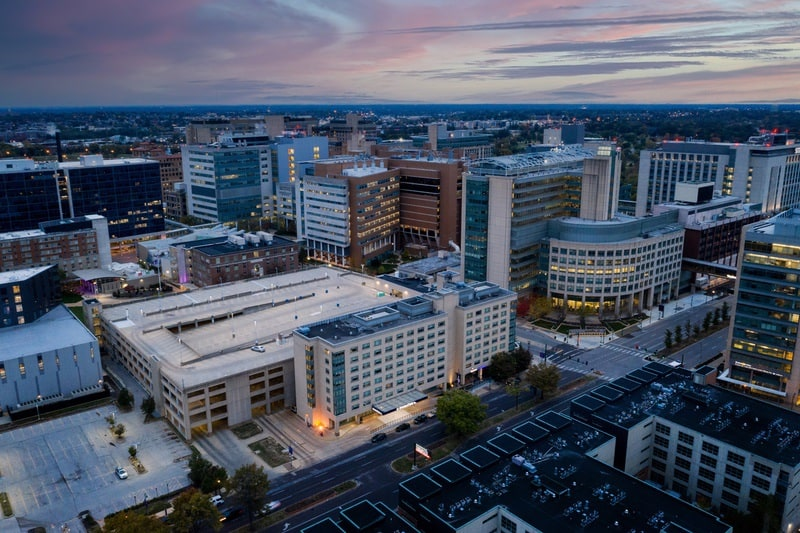 Hilton approved hotel photography for doubletree stl forest park Aerial 12