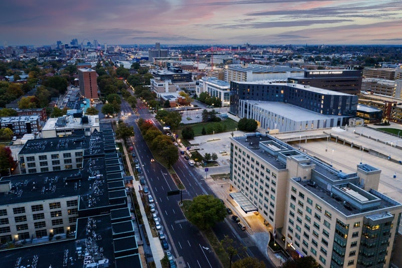 Hilton approved hotel photography for doubletree stl forest park Aerial 13