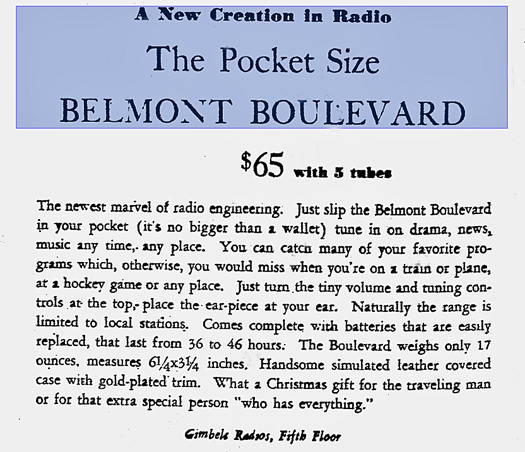 Belmont Boulevard Advertisement