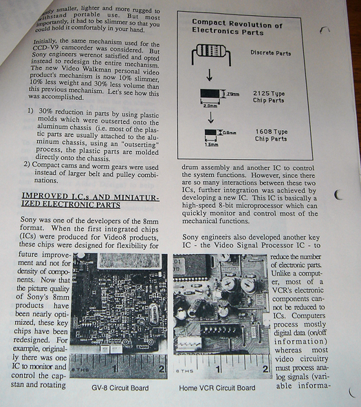 Sony GV 8 technical paper page five