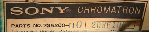 Sony KV 7010U CRT Label