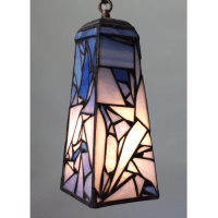 Blue Pendant Lamp in Stained Glass with Abstract Design