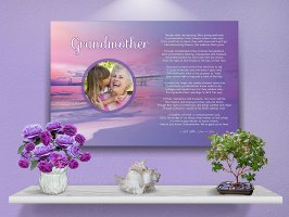 36 x 24 Sunset Beach Personalized Grandmother Art Poem Canvas Print with Canvas Gallery Wrapped Edge