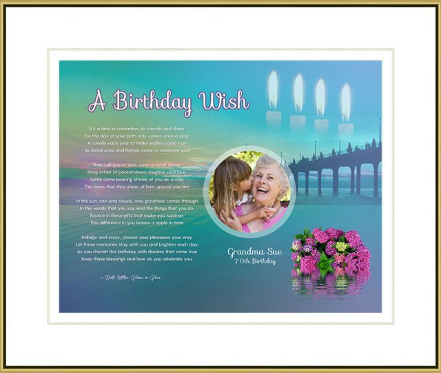 Birthday Sunset Beach Art Poem In Gold Frame With Mat And  Artwork