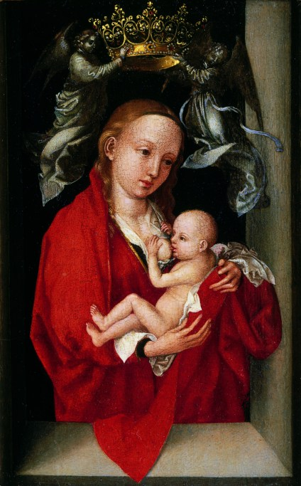 Martin Schongauer, Maria Lactans, The Virgin and Child Crowned by Angels, c.1470 Oil on softwood panel, 17.5 x 11.5 cm. Compton Verney Art Gallery, Warwicks, UK