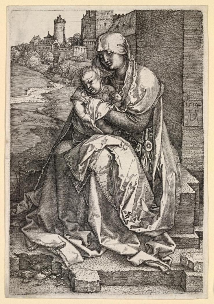 Albrecht Dürer (1471-1528) Virgin and Child Seated next to a Wall, 1514. Engraving, 148mm x 100mm. The British Museum: 1868, 0822.176